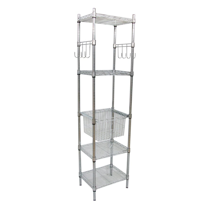 Shop Wire Shelving By Design 5-Tier Chrome Tower Shelving Unit at ...