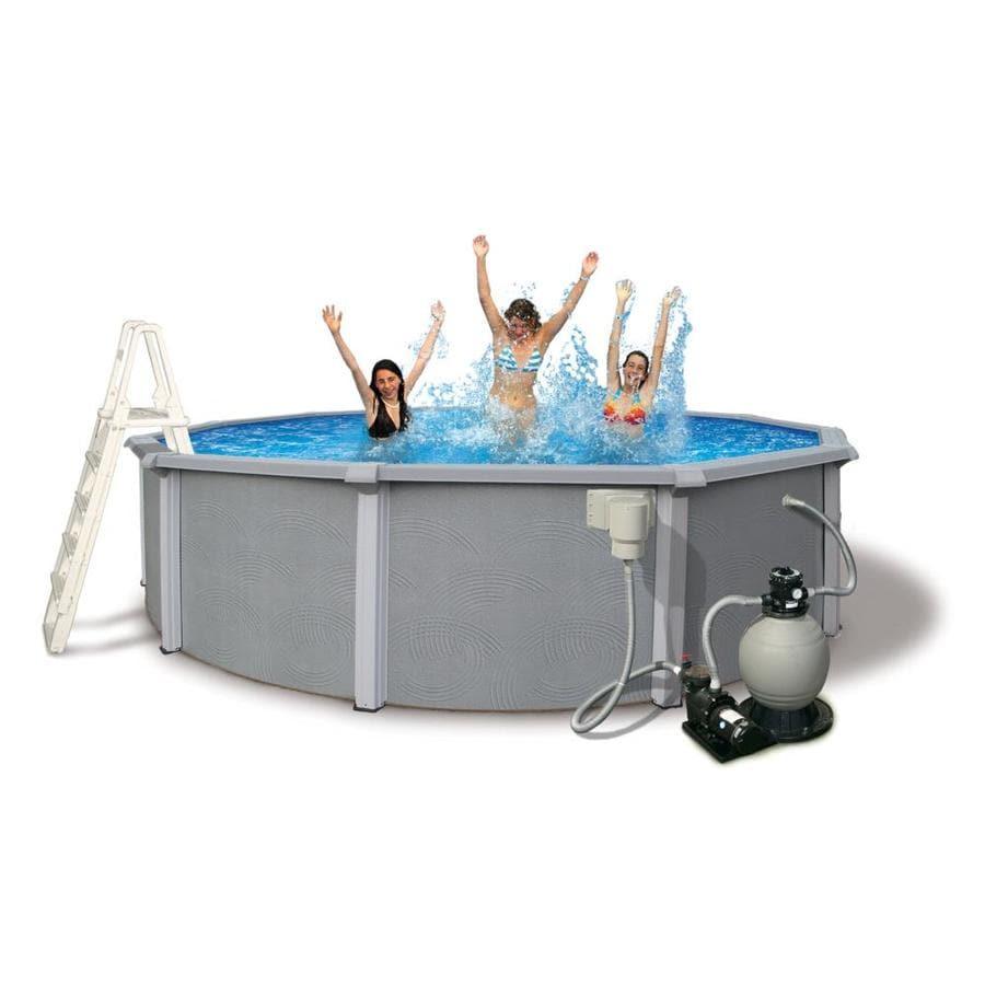 Shop blue wave zanzibar 15 ft x 15 ft x 54 in round above for 15 ft garden pool