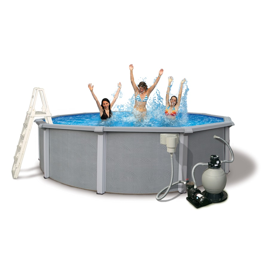 Shop blue wave zanzibar 18 ft x 18 ft x 54 in round above for 18 ft garden pool
