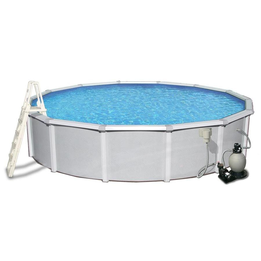 Shop blue wave samoan 24 ft x 24 ft x 52 in round above for 24 ft garden pool