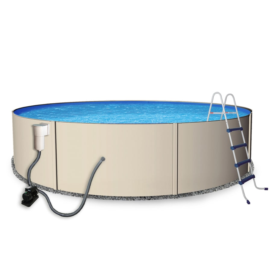 Shop blue wave rugged steel 12 ft x 12 ft x 48 in round above ground pool at for 12 ft above ground swimming pools