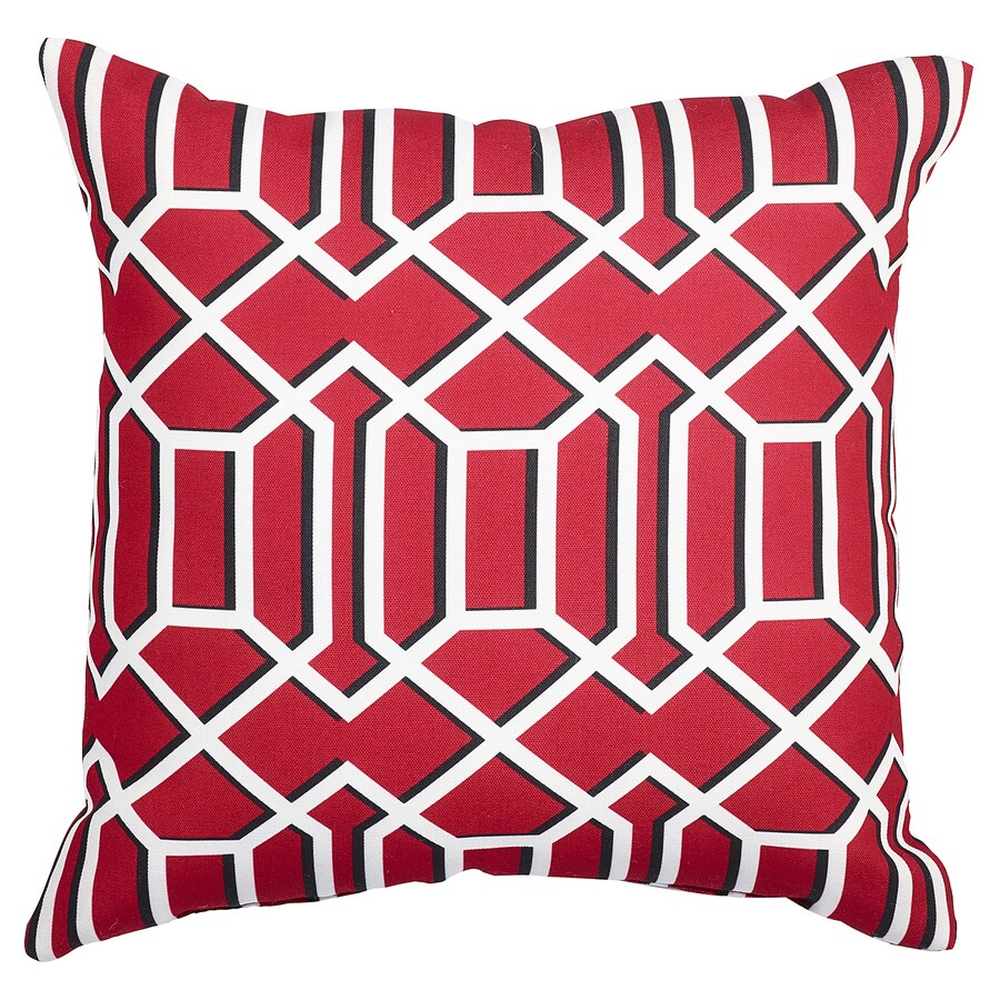 Garden Treasures Red and White Texture Square Lumbar Outdoor Decorative Pillow
