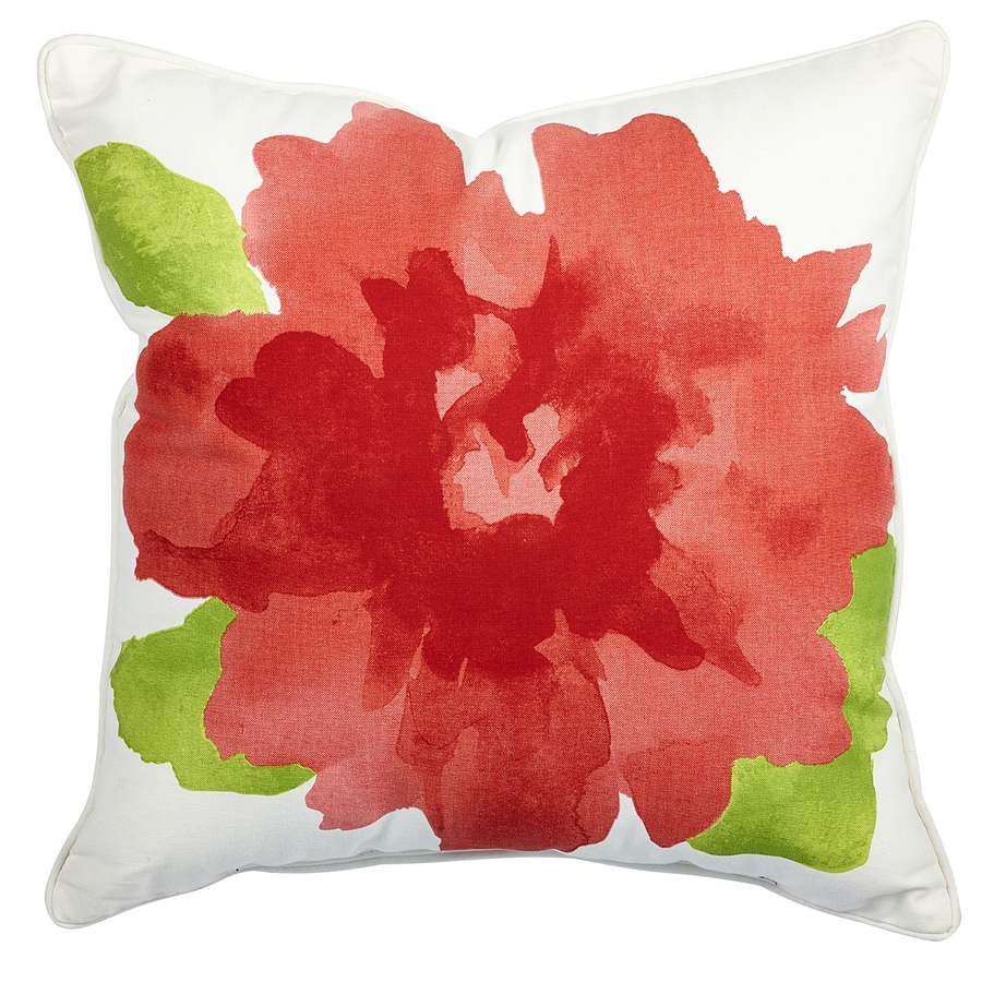 allen + roth Pink and White Texture Square Lumbar Outdoor Decorative Pillow