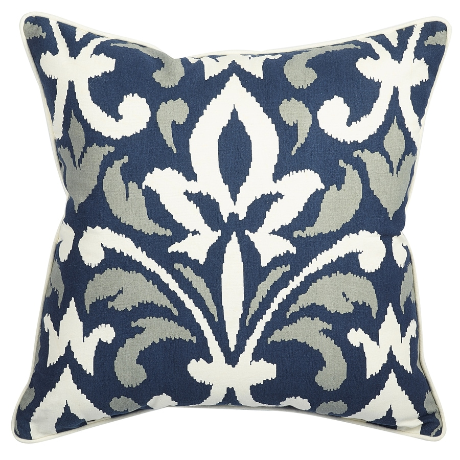 allen + roth Blue and White Texture Square Lumbar Outdoor Decorative Pillow
