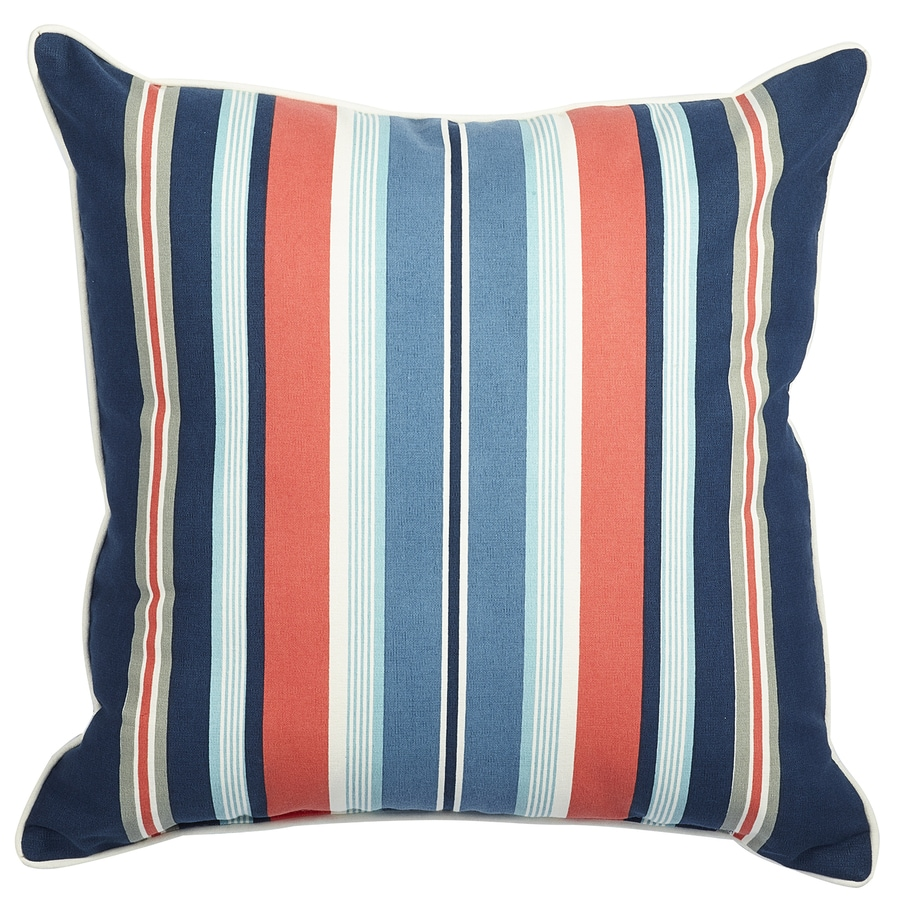 allen + roth Blue and Pink Stripe Square Lumbar Outdoor Decorative Pillow