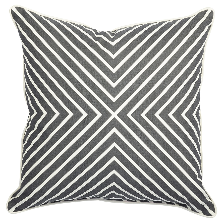 allen + roth Gray and White Texture Square Lumbar Outdoor Decorative Pillow