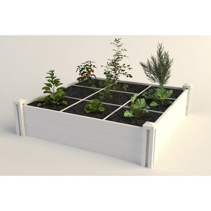 New England Arbors 48 In W X 48 In L X 11 In H White Raised Garden Bed In The Raised Garden Beds Department At Lowes Com