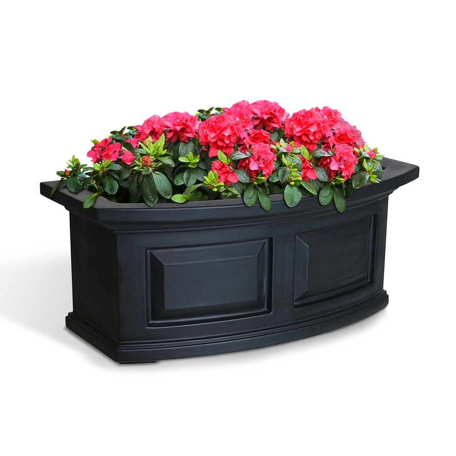 Mayne 24-in x 10-in Black Resin Hanging Self Watering Window Box