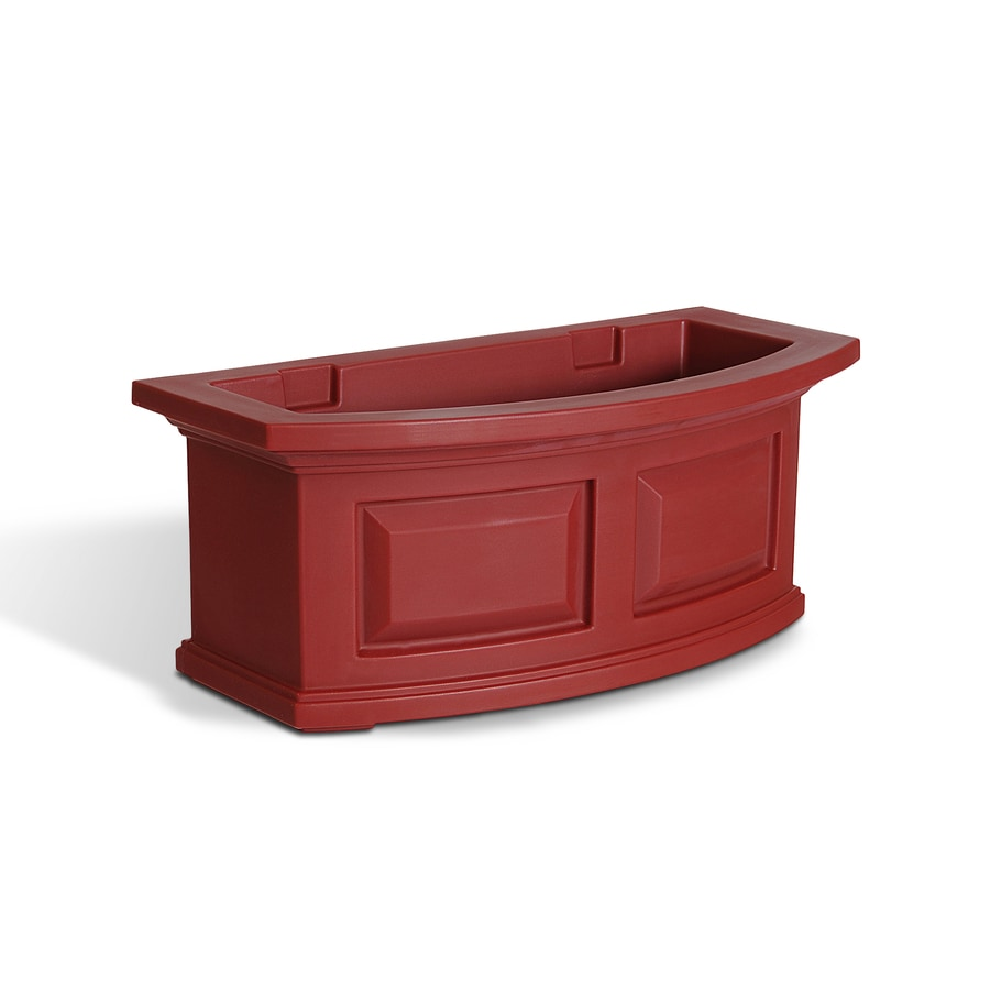 Mayne 24-in x 10-in Red Resin Hanging Self Watering Window Box