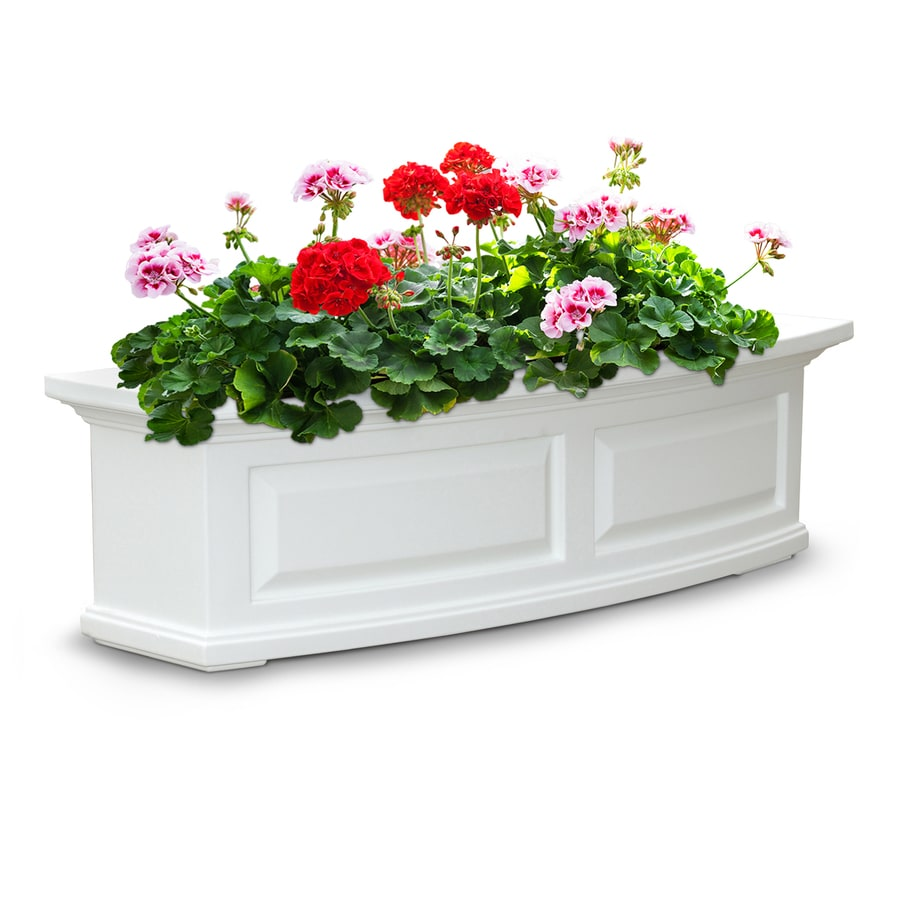 Mayne 36-in x 10-in White Resin Hanging Self Watering Window Box