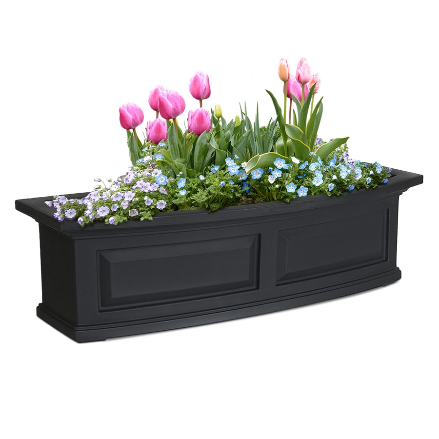 Mayne 36-in x 10-in Black Resin Hanging Self Watering Window Box