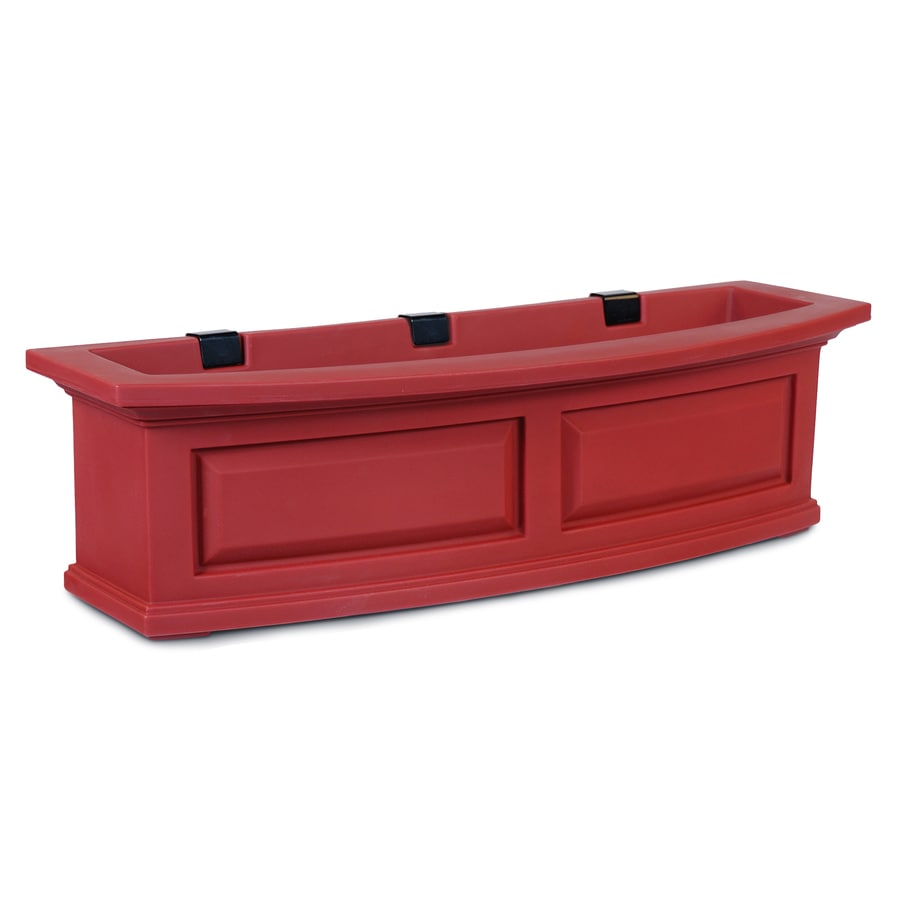Mayne 36-in x 10-in Red Resin Hanging Self Watering Window Box