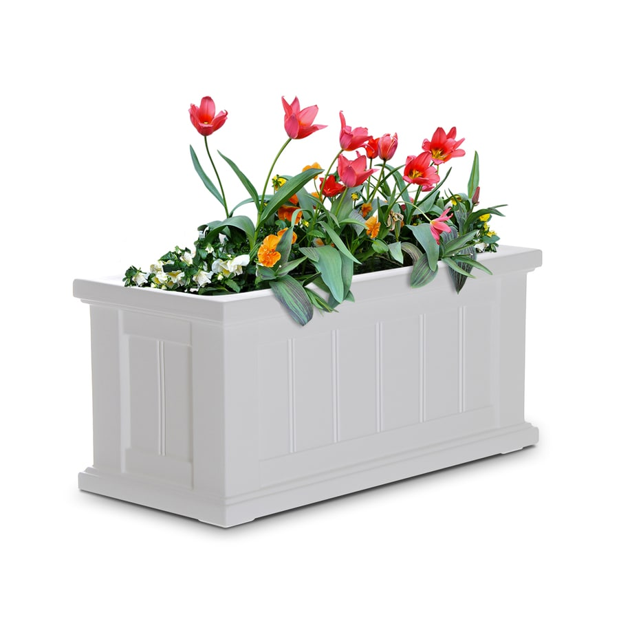 Mayne 24-in x 11-in White Resin Self Watering Rectangular Planter