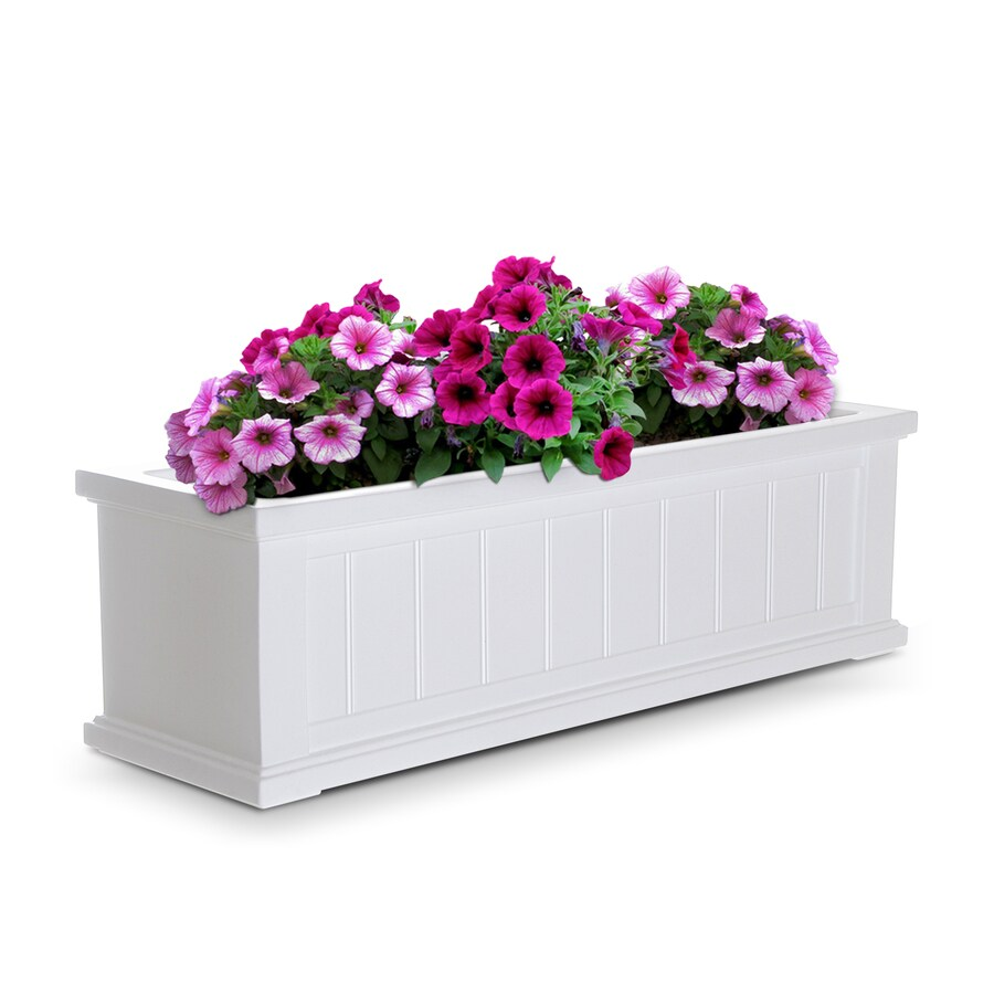Mayne 36-in x 10.8-in White Resin Hanging Self Watering Window Box