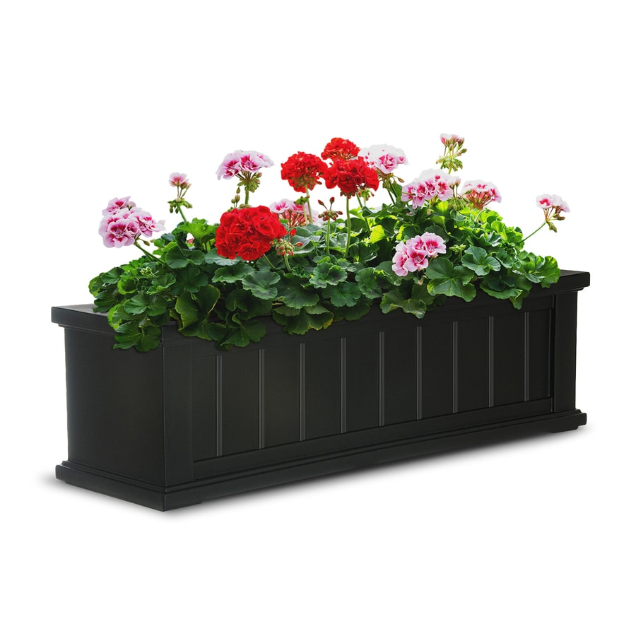 Mayne 36-in x 10.8-in Black Resin Hanging Self Watering Window Box