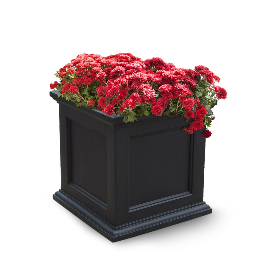 20 in x 20 in black resin self watering square planter at