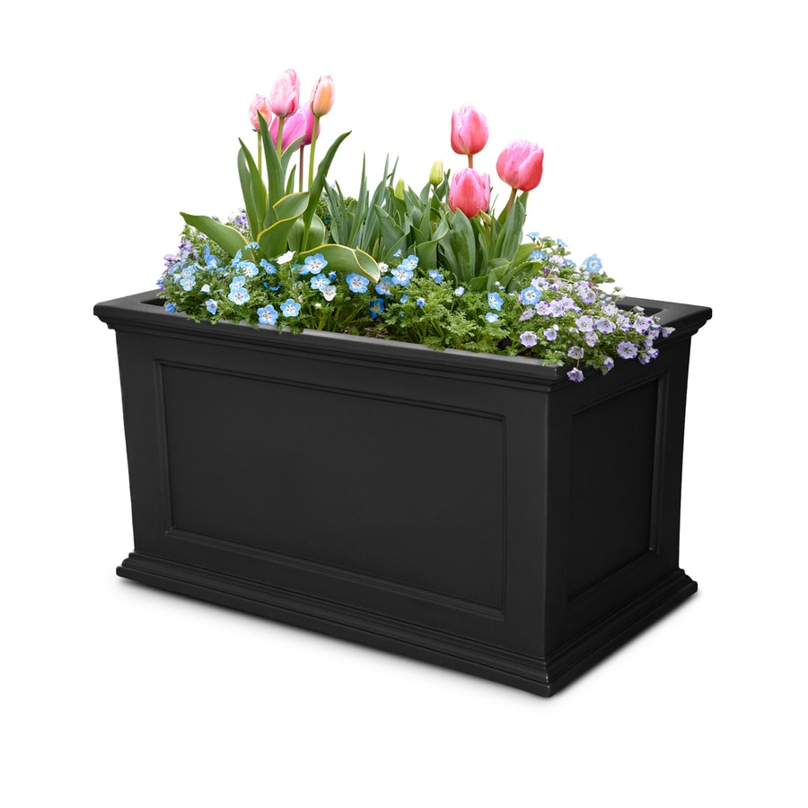 Mayne 36-in x 20-in Black Resin Self Watering Rectangular Planter
