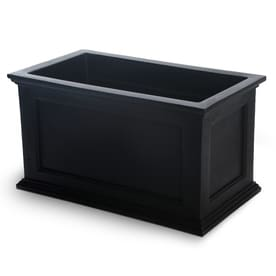 Mayne 36 In W X 20 H Black Resin Self Watering Rectangular Planter