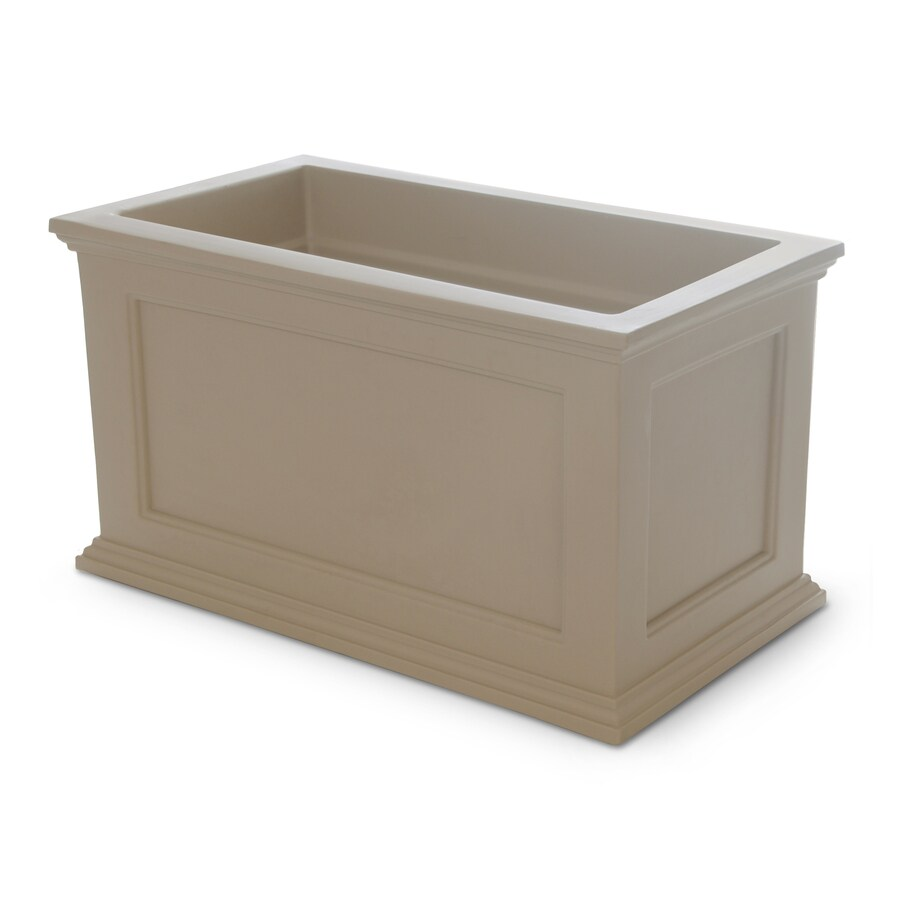 Mayne 36-in x 20-in Clay Resin Self Watering Rectangular Planter