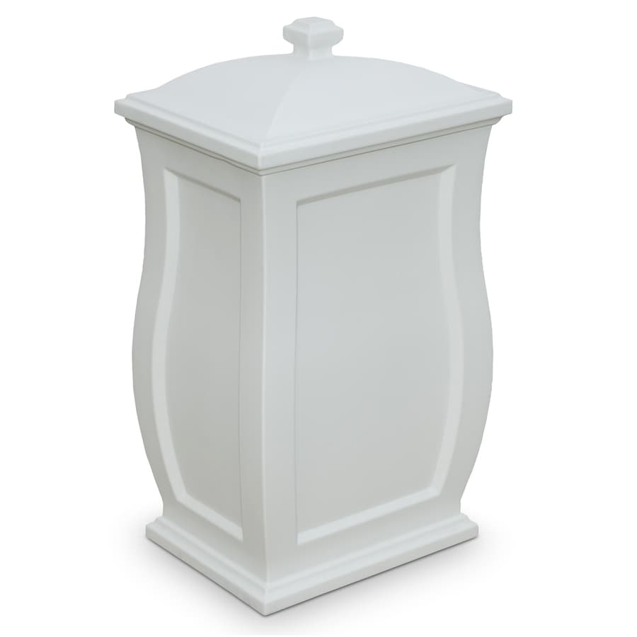 Mayne Mansfield 22 Gallon White Plastic Outdoor Trash Can With Lid
