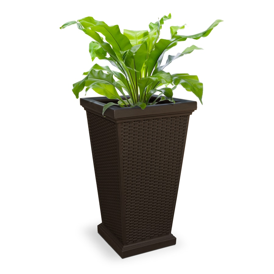Mayne 16-in x 28-in Espresso Resin Planter