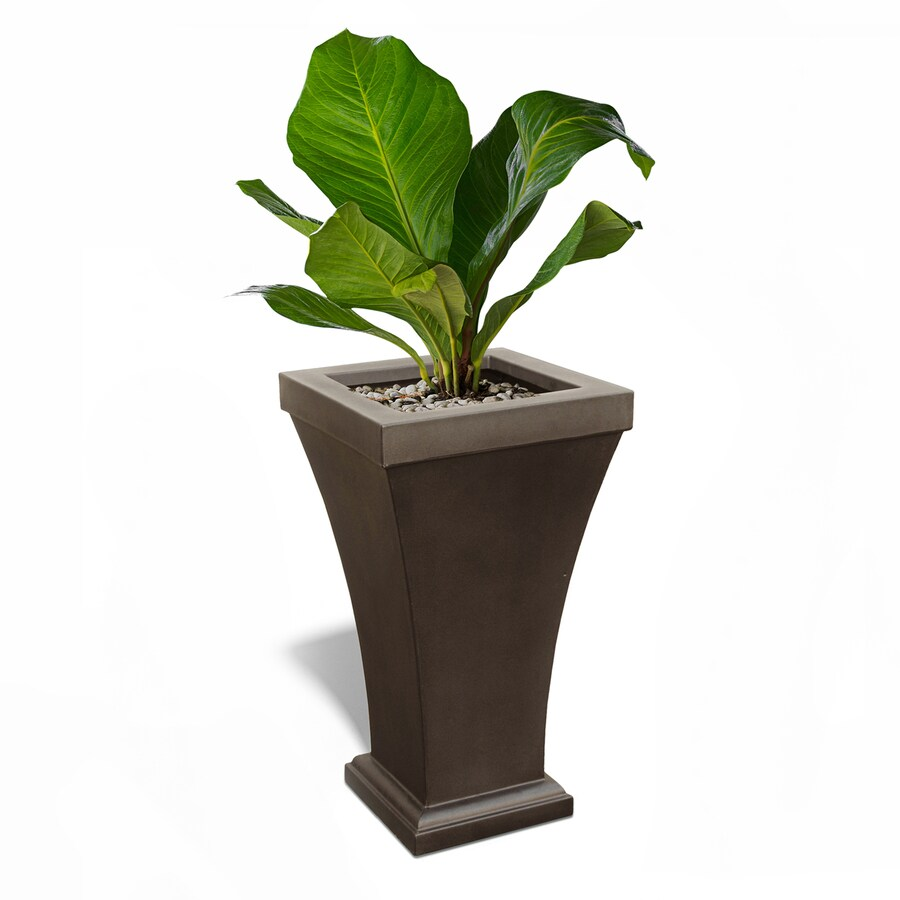 Mayne 16-in x 28.5-in Espresso Resin Self Watering Planter