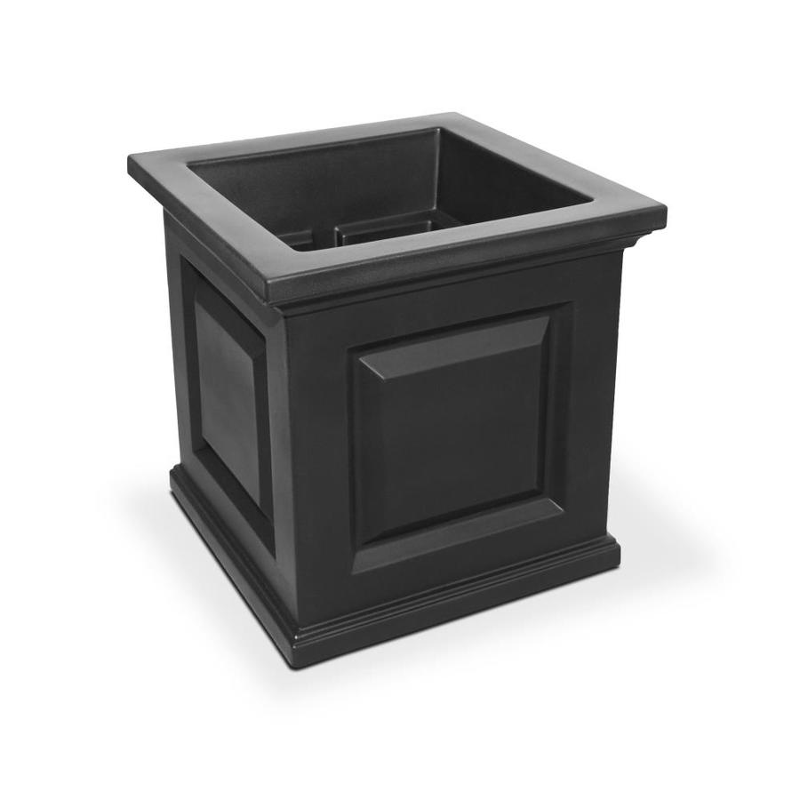 Mayne 16-in x 16-in Black Resin Self Watering Square Planter