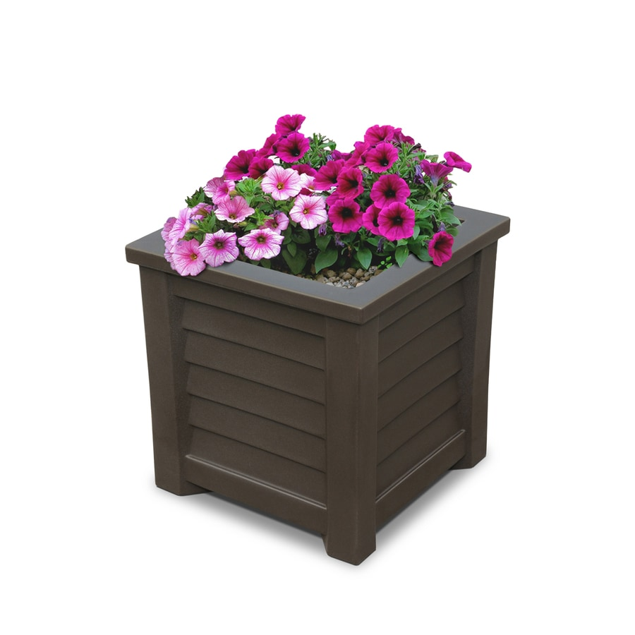 Mayne 16-in x 16-in Espresso Resin Self Watering Square Planter