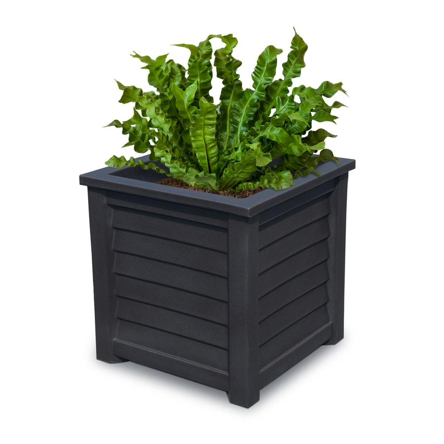 Mayne 20-in x 20-in Black Resin Self Watering Square Planter