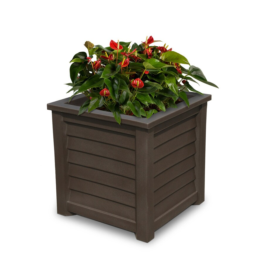 Mayne 20-in x 20-in Espresso Resin Square Planter