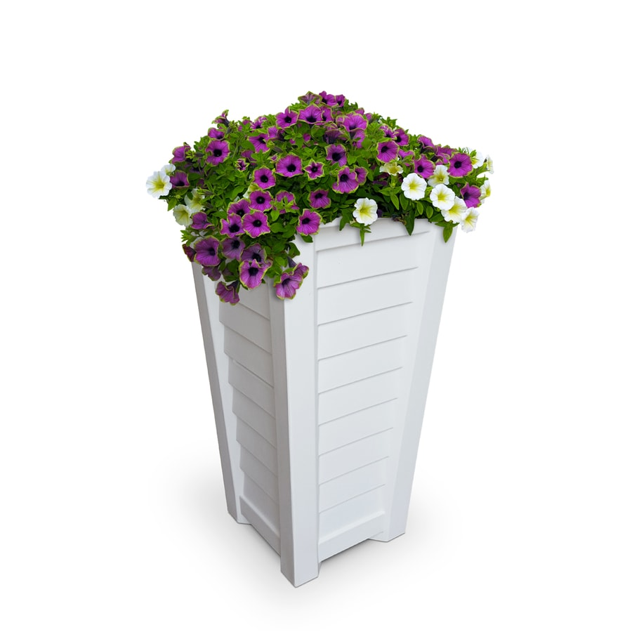 Mayne 16-in x 28.5-in White Resin Planter