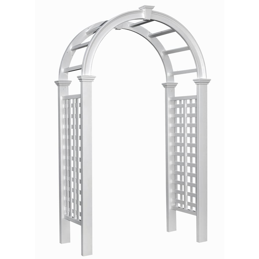 Garden Treasures 51-in W x 88.6-in H Semi-Glossy White New England Garden Arbor