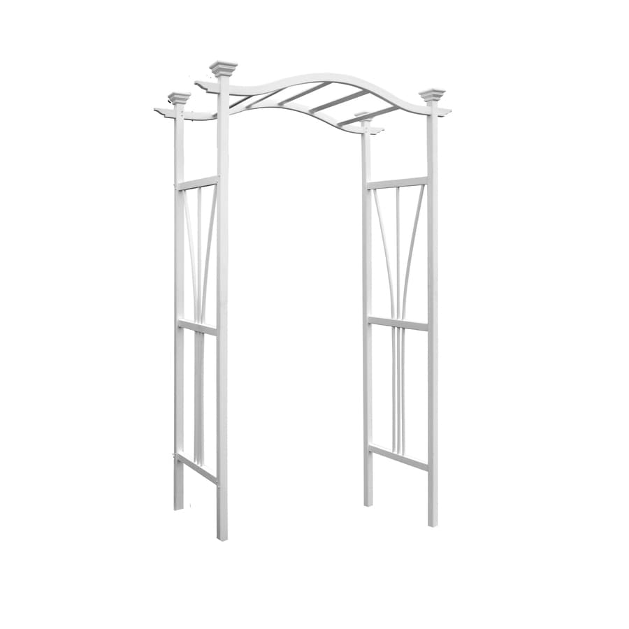 New England Arbors 3.75-ft W x 7.08-ft H White Garden Arbor