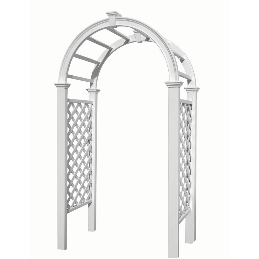 New England Arbors 3.75-ft W x 7.2-ft H White Garden Arbor