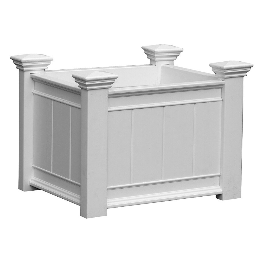 New England Arbors 21-in x 21.75-in White PVC Vinyl Traditional Planter