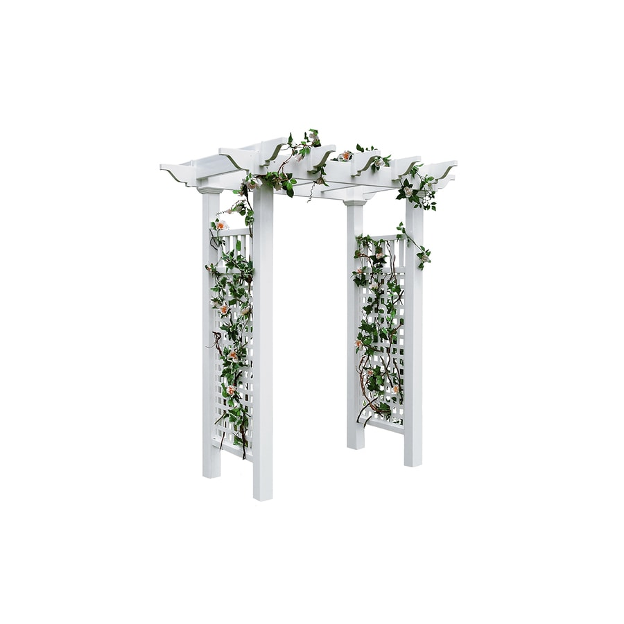 New England Arbors 4.83-ft W x 7.16-ft H White Garden Arbor