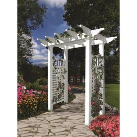 New England Arbors 4.83 Ft W X 7.16 Ft H White Garden Arbor