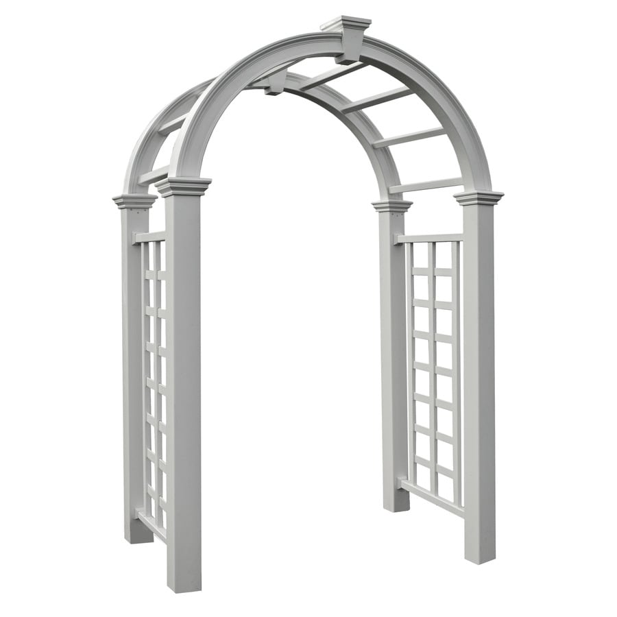 New England Arbors 4.98-ft W x 7.83-ft H White Garden Arbor