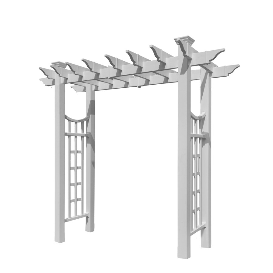 New England Arbors 81-in W x 92.4-in H White Garden Arbor