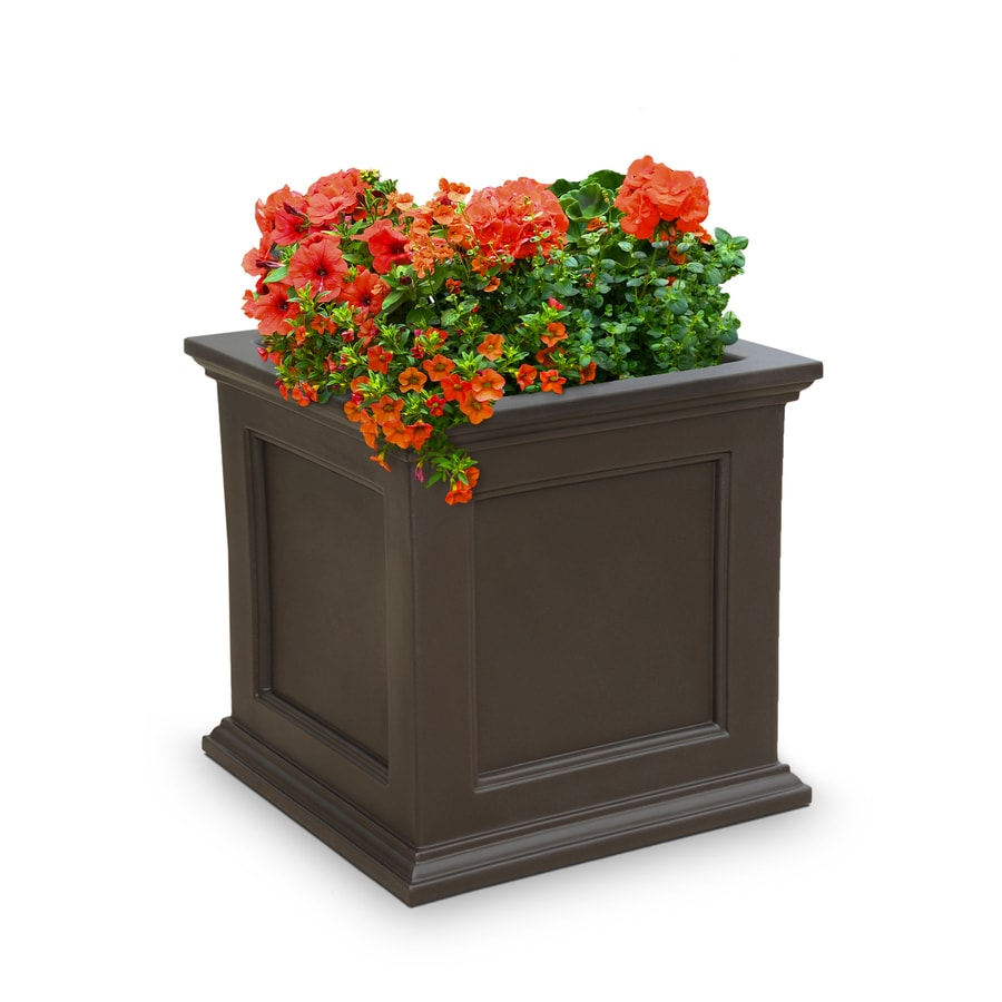 Mayne 28-in x 28-in Espresso Resin Square Planter