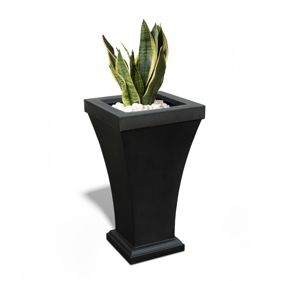 Mayne 22-in x 40-in Black Resin Tapered Planter