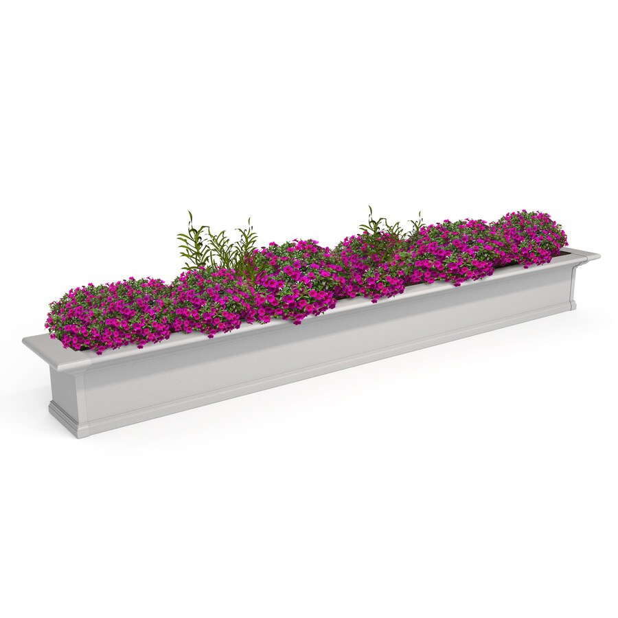 Mayne 96-in x 10-in White PVC Vinyl Hanging Self Watering Window Box
