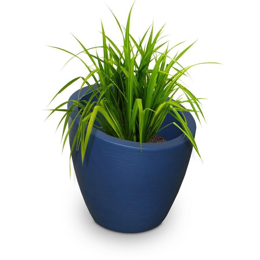 Mayne 20-in x 20-in Neptune Blue Resin Round Planter