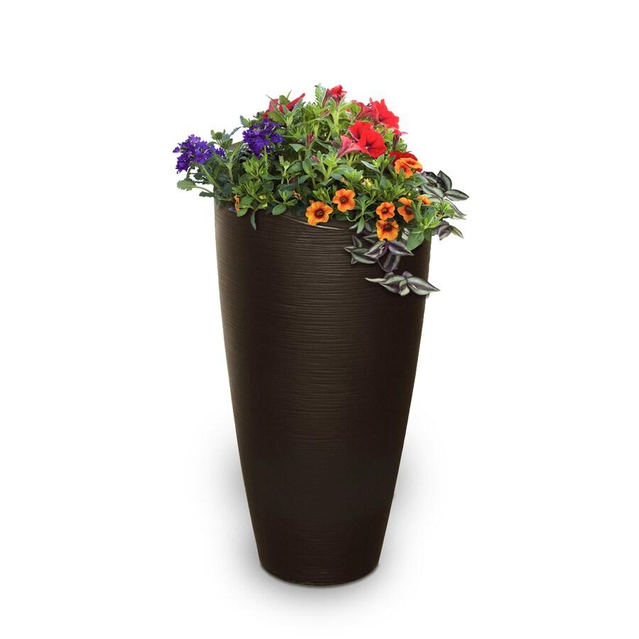 Mayne 16-in x 32-in Espresso Resin Round Planter