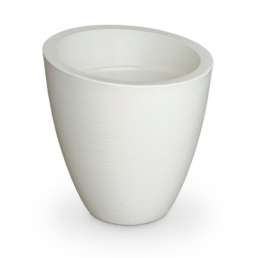 Mayne 34-in x 34-in Ivory Resin Round Planter