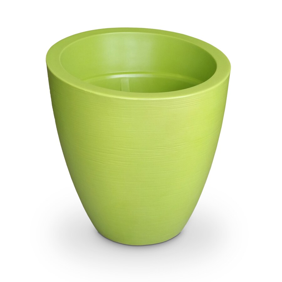 Mayne 34-in x 34-in Macaw Green Resin Round Planter