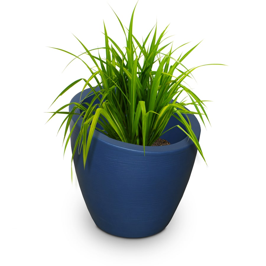 Mayne 34-in x 34-in Neptune Blue Resin Round Planter