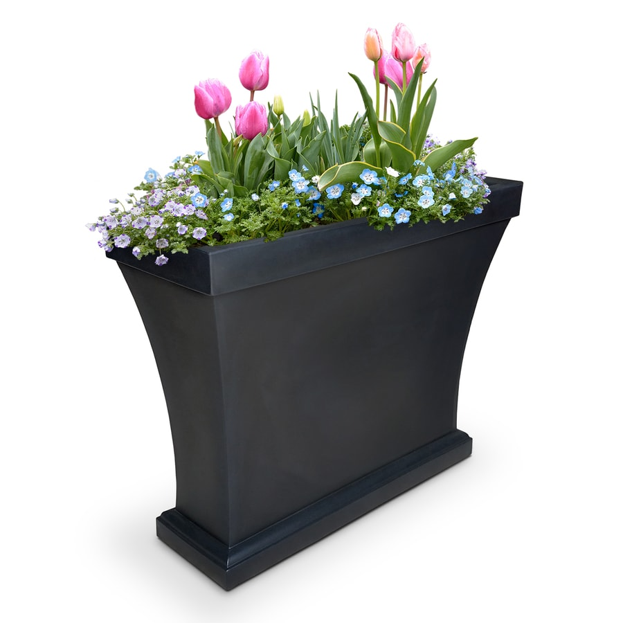 Mayne 16-in x 32-in Black Resin Rectangular Planter