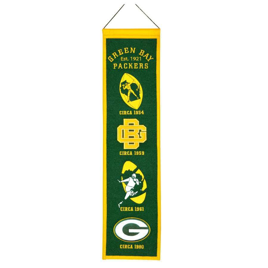Winning Streak 0.66-ft W x 2.66-ft H Embroidered Green Bay Packers Banner