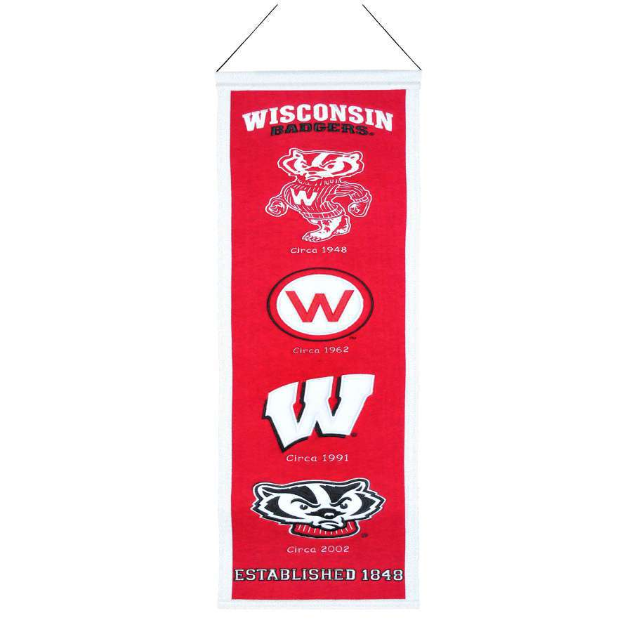 Winning Streak 0.66-ft W x 2.66-ft H Embroidered Wisconsin Badgers Banner